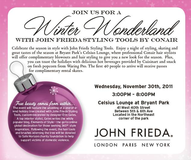 John Frieda Styling Tools by Conair Holiday Public Event