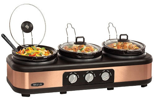 Bella 3 x 2.5QT Triple Slow Cooker with Lid Rests
