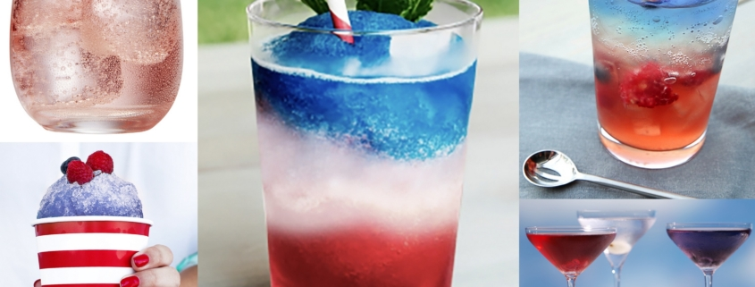 patriotic drinks: red, white, and blue cocktail