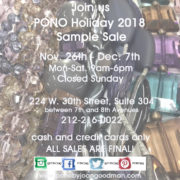 PONO 2018 Holiday Jewelry Sample Sale