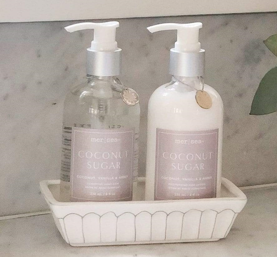 Coconut Sugar Hand Soap & Lotion Sink Set from Mer-Sea, $38.00