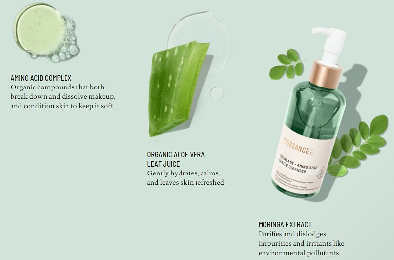 NEW in Beauty: Biossance Squalane + Amino Aloe Gentle Cleanser Key Ingredients